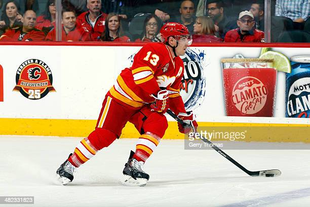 Mike Cammalleri of the Calgary Flames skates against the New York Islanders at Scotiabank Saddledome on March 7 2014 in Calgary Alberta Canada The...