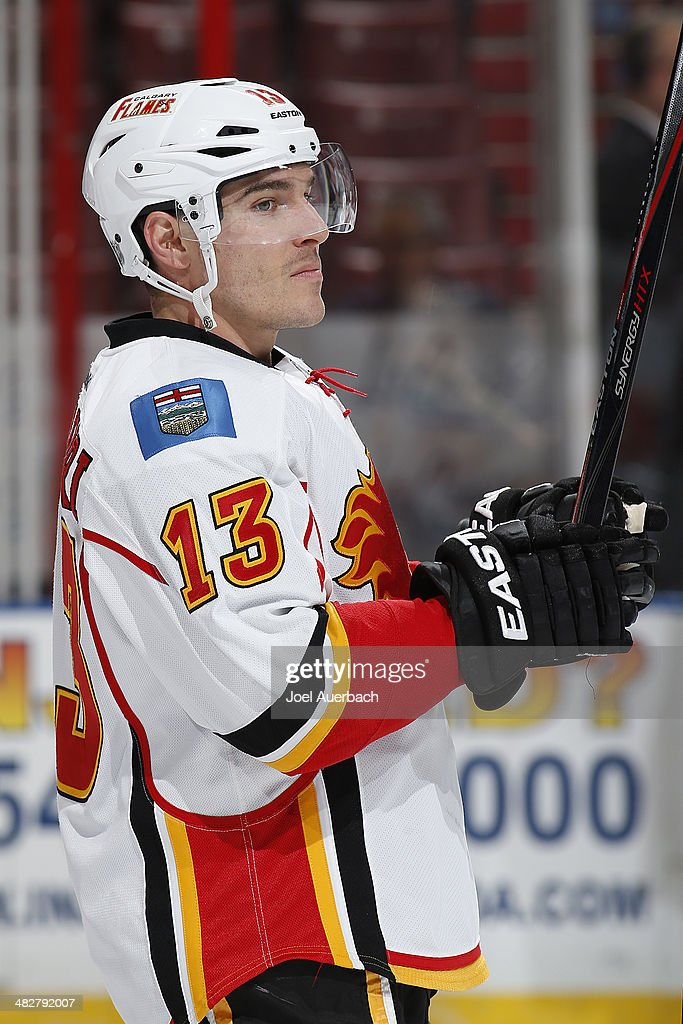 Mike Cammalleri #13 of the Calgary Flames skates prior to the game against the Florida Panthers at the BB&T Center on April 4, 2014 in Sunrise, Florida.