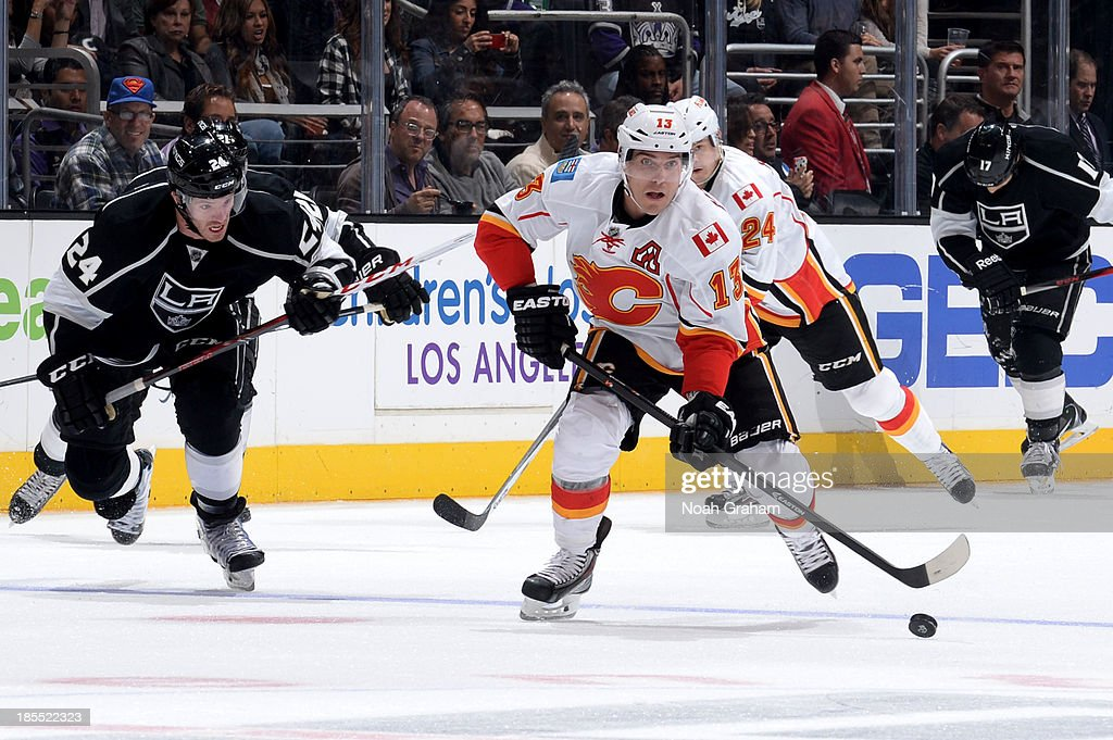 <a gi-track='captionPersonalityLinkClicked' href=/galleries/search?phrase=Mike+Cammalleri&family=editorial&specificpeople=634009 ng-click='$event.stopPropagation()'>Mike Cammalleri</a> #13 of the Calgary Flames skates with the puck against the Los Angeles Kings at Staples Center on October 21, 2013 in Los Angeles, California.