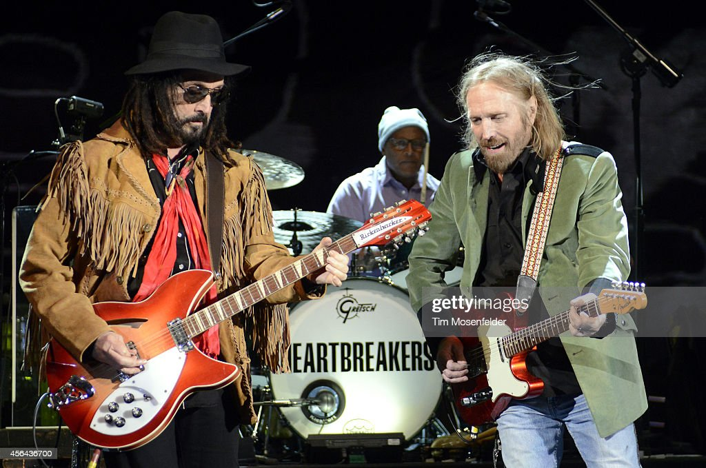 Mike Campbell, Steve Ferrone and Tom Petty of Tom Petty and the Heartbreakers perform in support of the band's 'Hypnotic Eye' release at Red Rocks Amphitheatre on September 30, 2014 in Morrison, Colorado.