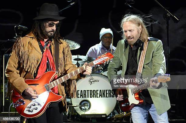 Mike Campbell Steve Ferrone and Tom Petty of Tom Petty and the Heartbreakers perform in support of the band's 'Hypnotic Eye' release at Red Rocks...