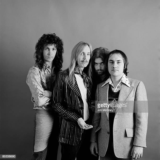 Mike Campbell Tom Petty Tom Leadon and Randall Marsh of the rock and roll band 'Mudcrutch' pose for a portrait session in December 1974 in Los...