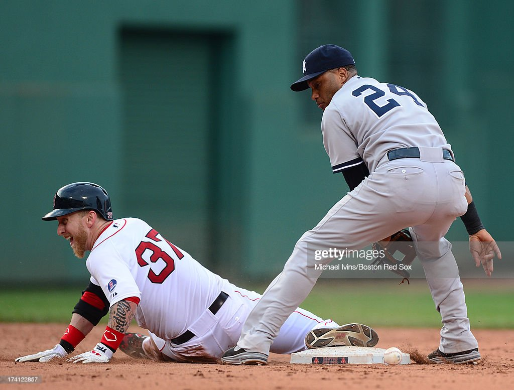 Mike Carp #37 of the Boston Red Sox slides into second base with a double in front of <a gi-track='captionPersonalityLinkClicked' href=/galleries/search?phrase=Robinson+Cano&family=editorial&specificpeople=538362 ng-click='$event.stopPropagation()'>Robinson Cano</a> #34 of the New York Yankees in the seventh inning on July 20, 2013 at Fenway Park in Boston, Massachusetts.