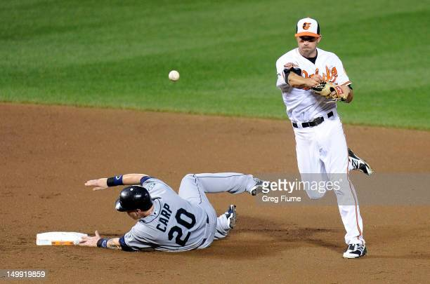 Mike Carp of the Seattle Mariners breaks up the double play against JJ Hardy of the Baltimore Orioles at Oriole Park at Camden Yards on August 6 2012...