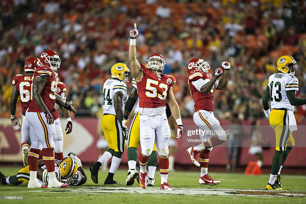 Mike Catapano #53 of the Kansas City Chiefs points to the heavens during the final preseason game against the Green Bay Packers at Arrowhead Stadium on August 29, 2013 in Kansas CIty, Missouri.
