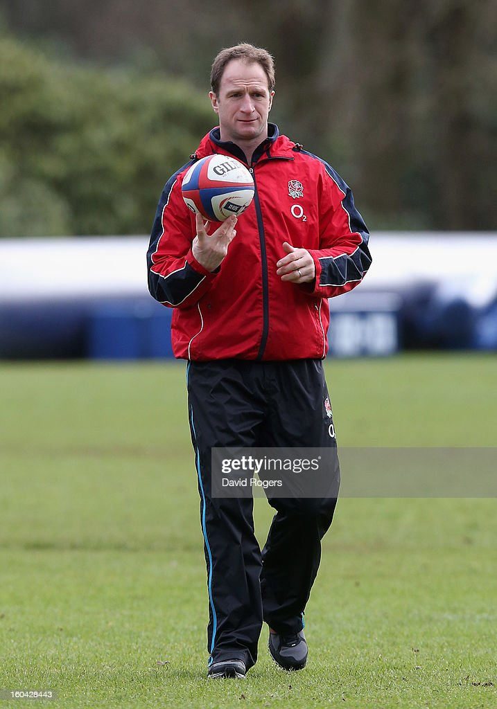 Mike Catt, England's attacking skills coach looks on during an England training session at Pennyhill Park on January 31, 2013 in Bagshot, England.