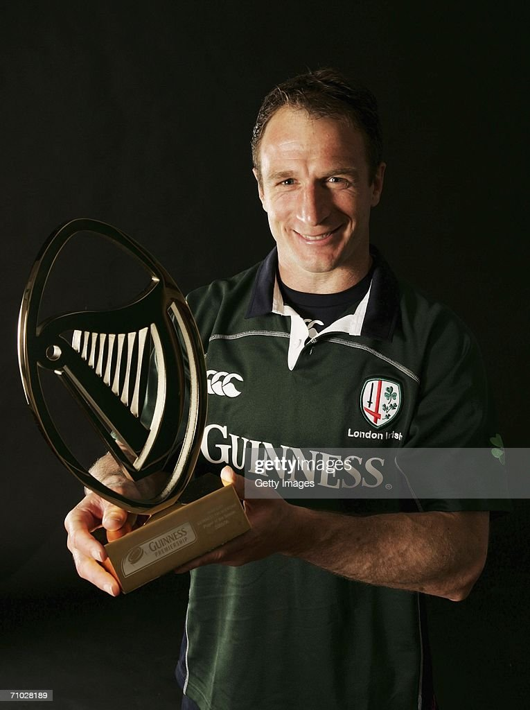 Mike Catt of London Irish poses with the Guinness Premiership Player of the Season 2005/2006 trophy on May 18 2006 in Sunbury England Mike Catt will...