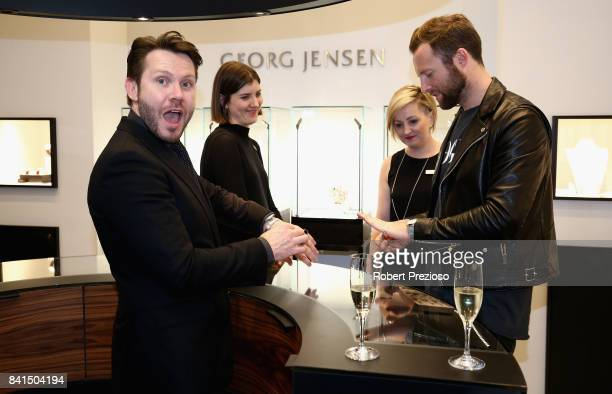 Mike Christensen and Ncik Smith pose for photos during Vogue American Express Fashion's Night Out 2017 on September 1 2017 in Melbourne Australia