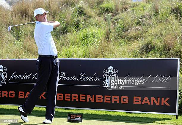 Mike Clayton of Australia in action during the final round of the Berenberg Bank Masters played over the Links at Fancourt on March 28 2010 in George...