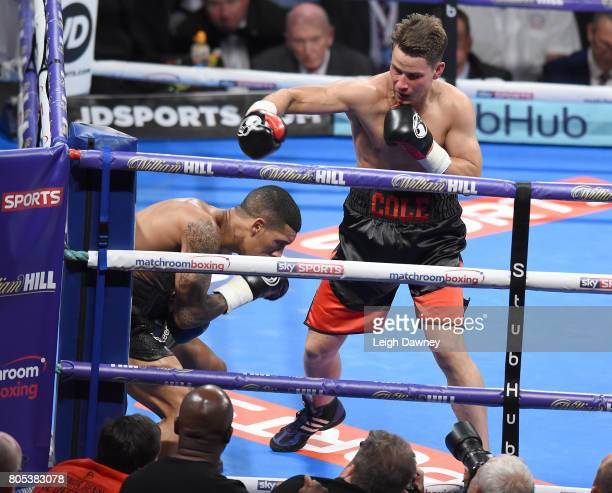 Mike Cole in boxing action with Conor Benn during a Welterweight contest at The O2 Arena on July 1 2017 in London England