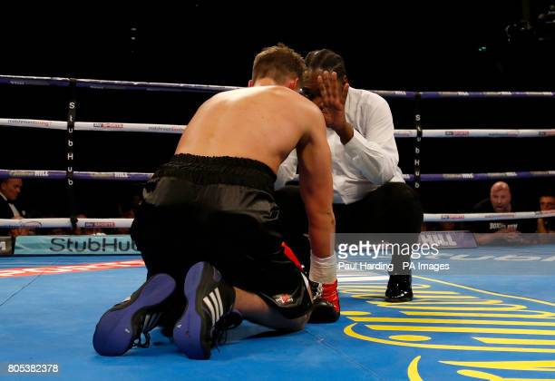Mike Cole is counted down during his fight against Conor Benn in the Welterweight contest at the O2 Arena London PRESS ASSOCIATION Photo Picture date...