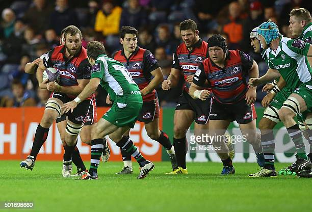 Mike Coman of Edinburgh Rugby drives forward with the ball during the European Rugby Challenge Cup match between Edinburgh Rugby and London Irish at...