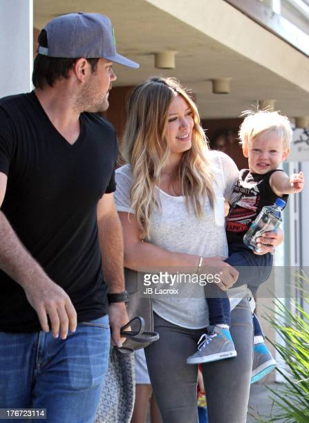 Mike Comrie Hilary Duff and Luca Cruz are seen on August 17 2013 in Los Angeles California