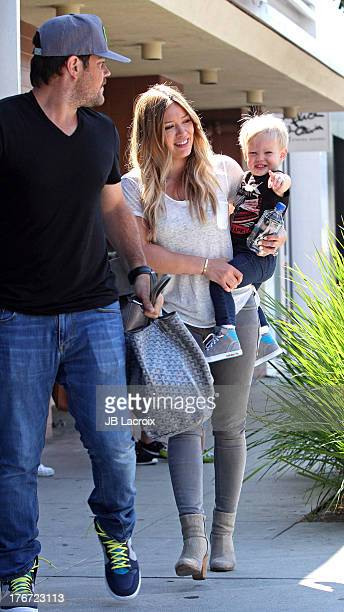 Mike Comrie Luca Cruz and Hilary Duff are seen on August 17 2013 in Los Angeles California