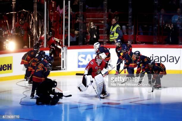 Mike Condon goaltender of Ottawa Senators enters the ice ahead of the 2017 SAP NHL Global Series match between Colorado Avalanche and Ottawa Senators...