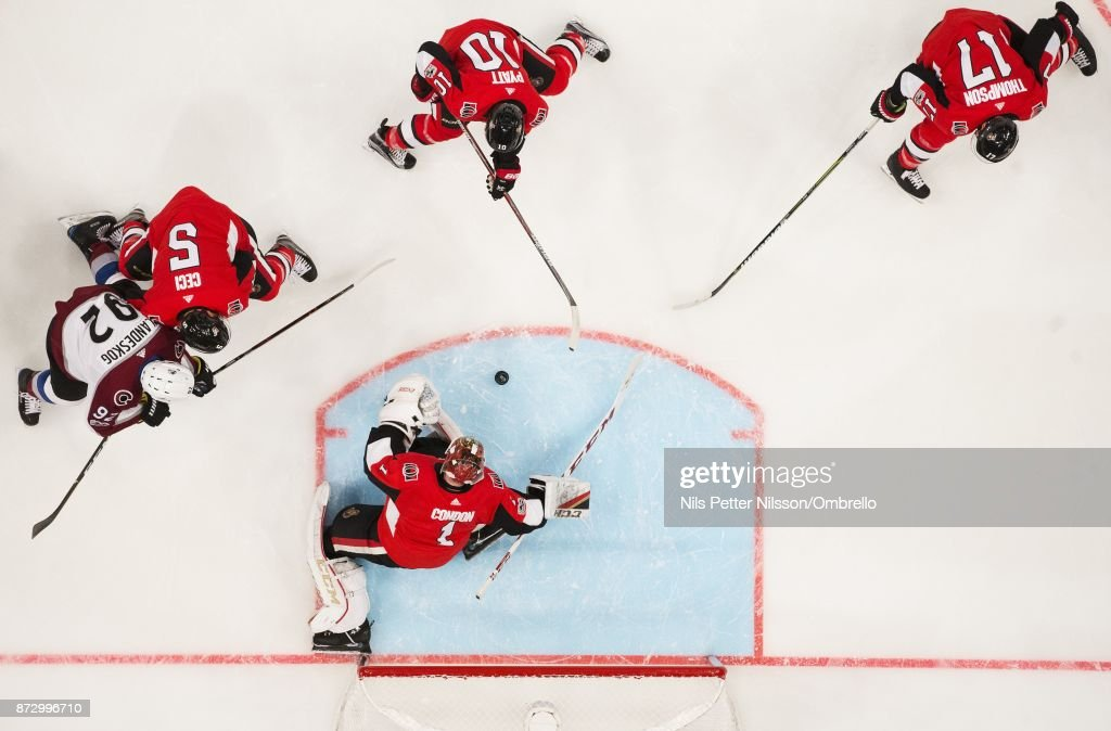Mike Condon #1, goaltender of Ottawa Senators makes a save during the 2017 SAP NHL Global Series match between Colorado Avalanche and Ottawa Senators at Ericsson Globe on November 11, 2017 in Stockholm, Sweden.