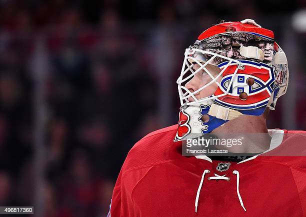 Mike Condon of the Montreal Canadiens during the NHL game against the Boston Bruins at the Bell Centre on November 7 2015 in Montreal Quebec Canada