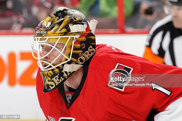 Mike Condon of the Ottawa Senators follows the play against the Detroit Red Wings at Canadian Tire Centre on December 29 2016 in Ottawa Ontario Canada