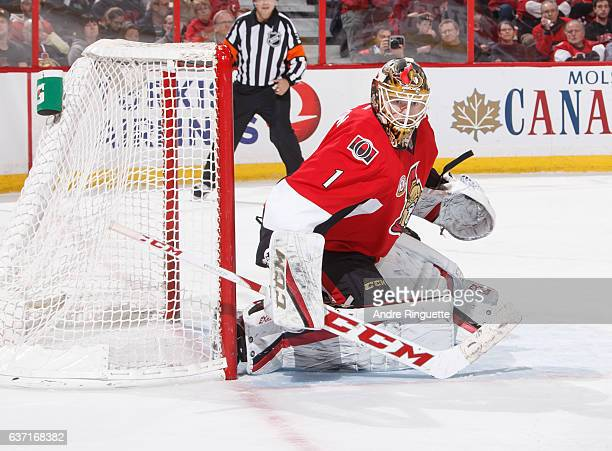 Mike Condon of the Ottawa Senators guards his net against the Detroit Red Wings at Canadian Tire Centre on December 29 2016 in Ottawa Ontario Canada