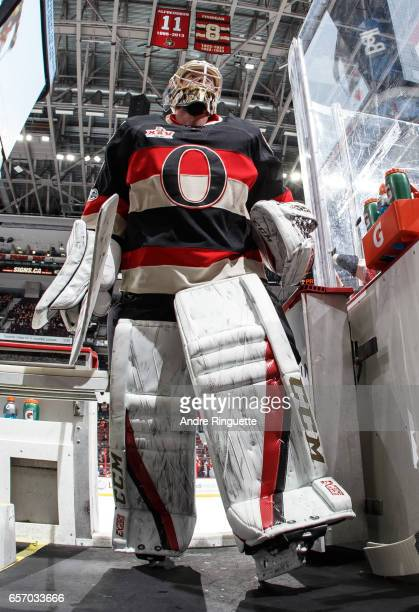 Mike Condon of the Ottawa Senators leaves the ice after warmup prior to his start against the Pittsburgh Penguins at Canadian Tire Centre on March 23...