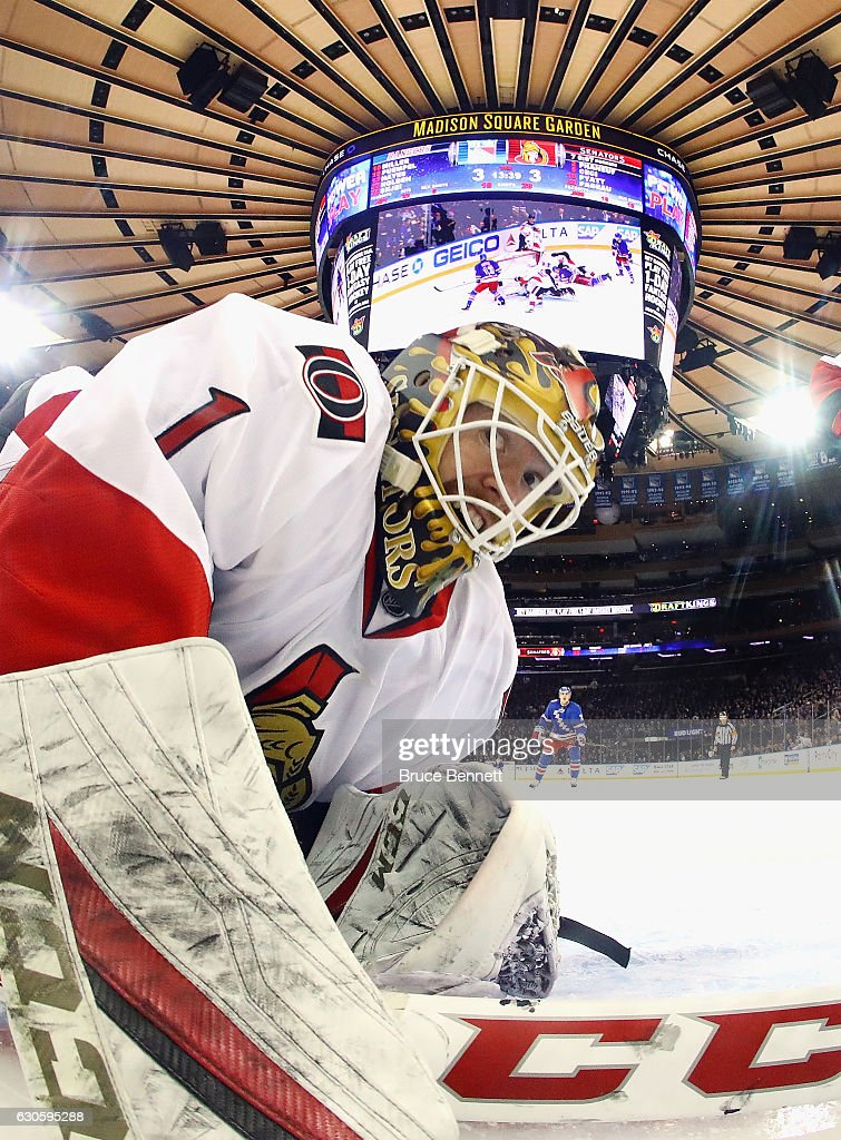 Mike Condon #1 of the Ottawa Senators looks in the net as the game winning goal goes in off the stick of Nick Holden #22 of the New York Rangers at 6:31 of the third period at Madison Square Garden on December 27, 2016 in New York City. The Rangers defeated the Senators 4-3.