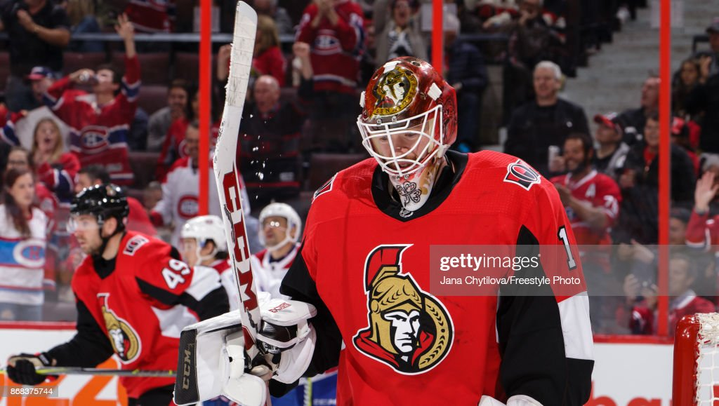 Mike Condon #1 of the Ottawa Senators reacts after the Montreal Canadiens scored their seventh goal of the game in the third period at Canadian Tire Centre on October 30, 2017 in Ottawa, Ontario, Canada.