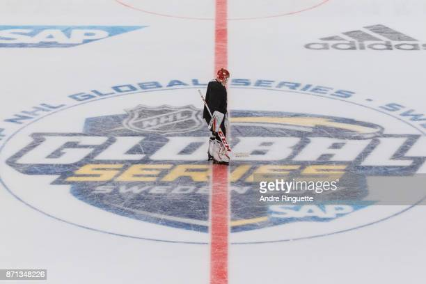 Mike Condon of the Ottawa Senators skates over the center ice logo during practice at Ericsson Globe on November 7 2017 ahead of the 2017 SAP NHL...