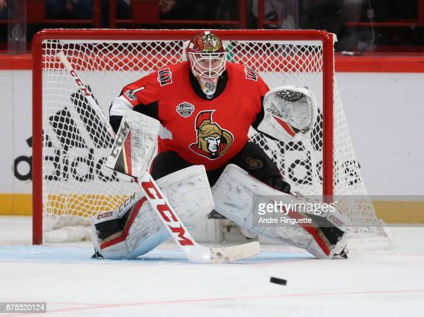 Mike Condon of the Ottawa Senators tends net against the Colorado Avalanche at Ericsson Globe on November 11 2017 in Stockholm Sweden