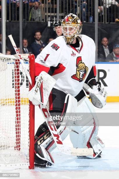 Mike Condon of the Ottawa Senators tends the net against the New York Rangers in Game Four of the Eastern Conference Second Round during the 2017 NHL...