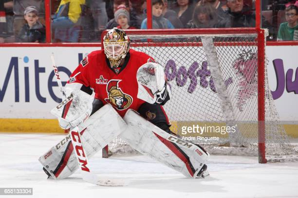 Mike Condon of the Ottawa Senators warms up prior to a game against the Tampa Bay Lightning at Canadian Tire Centre on March 14 2017 in Ottawa...