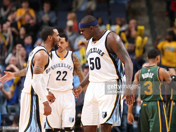 Mike Conley and Zach Randolph of the Memphis Grizzlies react during the game against the Utah Jazz on March 4 2016 at FedExForum in Memphis Tennessee...