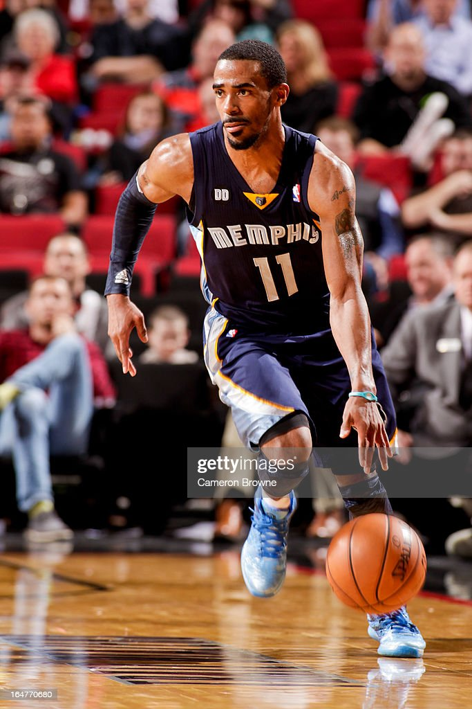 Mike Conley #11 of the Memphis Grizzlies advances the ball against the Portland Trail Blazers on March 12, 2013 at the Rose Garden Arena in Portland, Oregon.