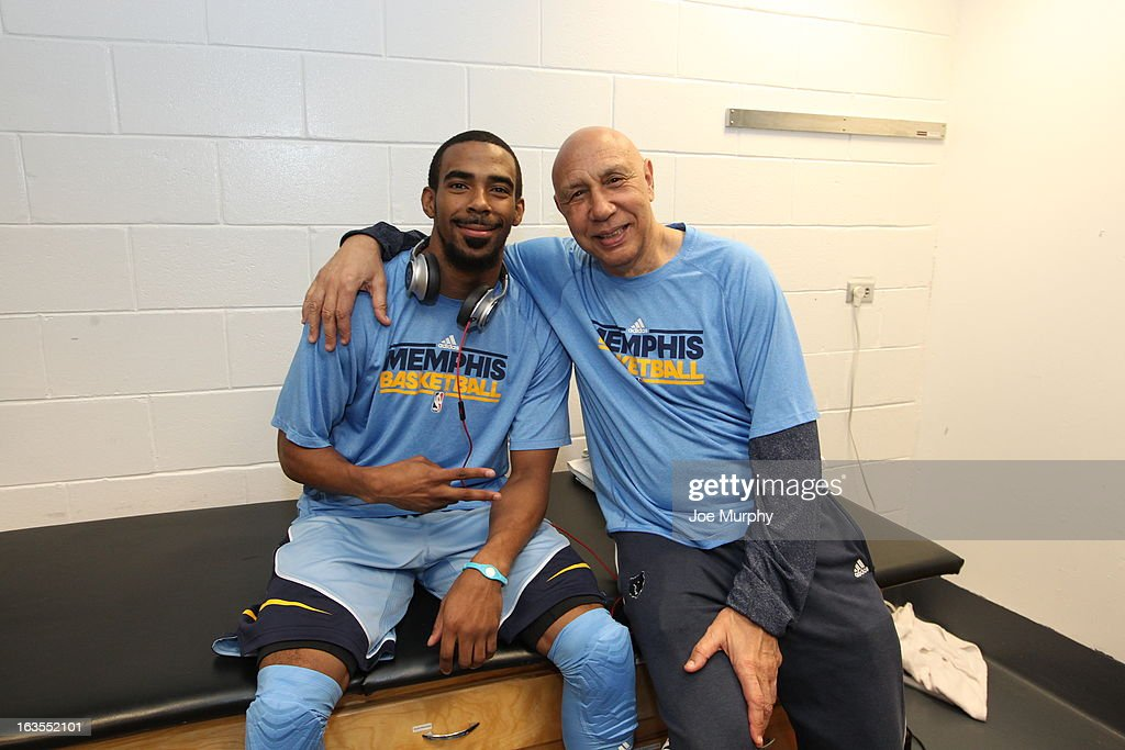 Mike Conley #11 of the Memphis Grizzlies and assistant coach Henry Bibby before the game against the Miami Heat on March 1, 2013 at American Airlines Arena in Miami, Florida.