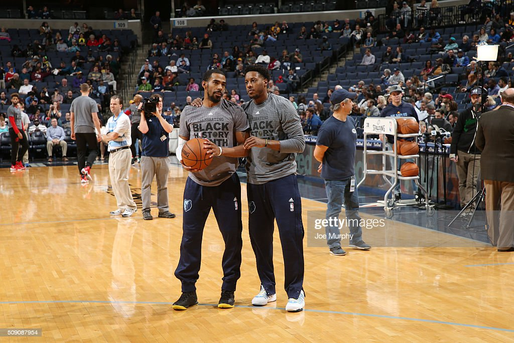 Mike Conley #11 of the Memphis Grizzlies and <a gi-track='captionPersonalityLinkClicked' href=/galleries/search?phrase=Mario+Chalmers&family=editorial&specificpeople=802115 ng-click='$event.stopPropagation()'>Mario Chalmers</a> #6 of the Memphis Grizzlies talk before the game against the Portland Trail Blazers on February 8, 2016 at FedExForum in Memphis, Tennessee.