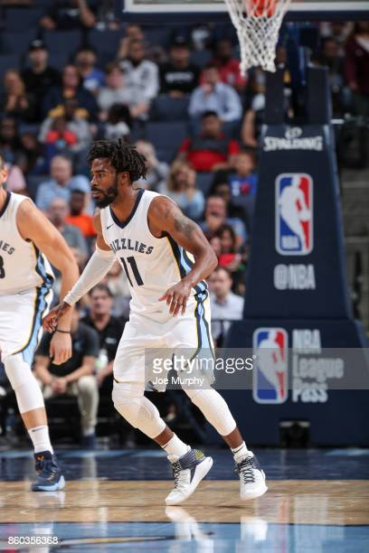 Mike Conley of the Memphis Grizzlies awaits the ball during a preseason game against the Houston Rockets on October 11 2017 at FedExForum in Memphis...