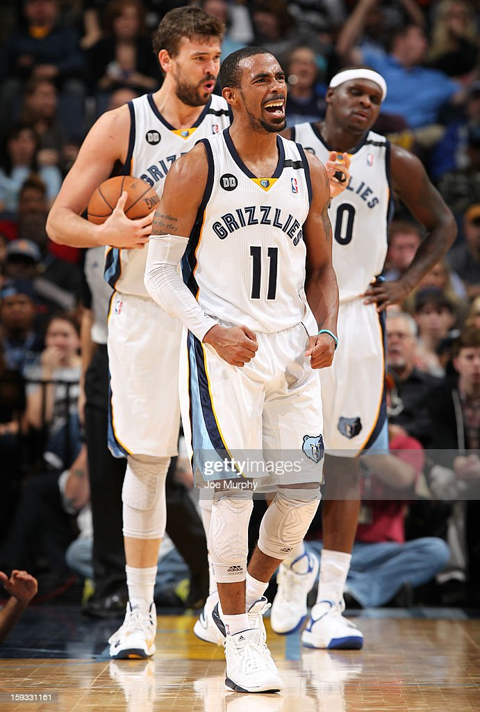 Mike Conley #11 of the Memphis Grizzlies celebrates after a play against the San Antonio Spurs on January 11, 2013 at FedExForum in Memphis, Tennessee.