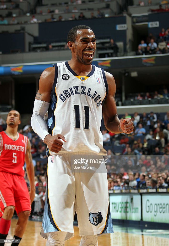 Mike Conley #11 of the Memphis Grizzlies celebrates during a game against the Houston Rockets on February 14, 2012 at FedExForum in Memphis, Tennessee.