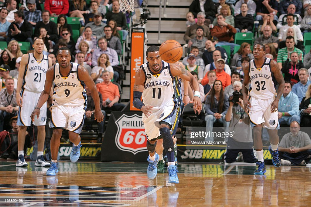 Mike Conley #11 of the Memphis Grizzlies chases down a loose ball against the Utah Jazz at Energy Solutions Arena on March 16, 2013 in Salt Lake City, Utah.