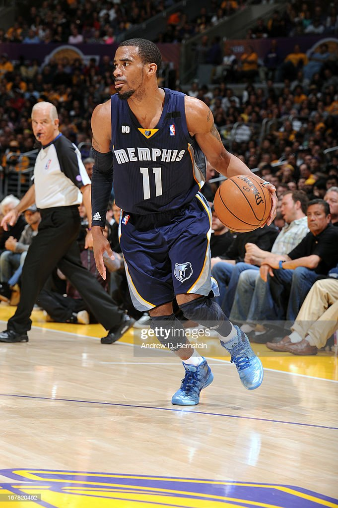Mike Conley #11 of the Memphis Grizzlies drives against the Los Angeles Lakers at Staples Center on April 5, 2013 in Los Angeles, California.