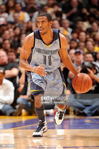 Mike Conley of the Memphis Grizzlies drives the ball upcourt against the Los Angeles Lakers during the game on November 6 2009 at Staples Center in...