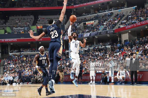 Mike Conley of the Memphis Grizzlies drives to the basket during the 201718 regular season game against the New Orleans Pelicans on October 18 2017...