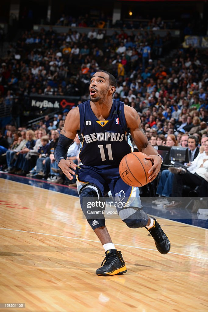 Mike Conley #11 of the Memphis Grizzlies handles the ball against the Denver Nuggets on December 14, 2012 at the Pepsi Center in Denver, Colorado.