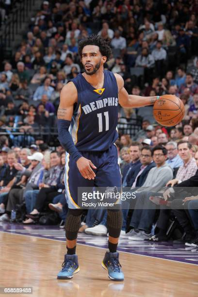 Mike Conley of the Memphis Grizzlies handles the ball during a game against the Sacramento Kings on March 27 2017 at Golden 1 Center in Sacramento...