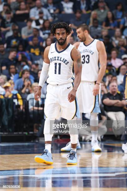 Mike Conley of the Memphis Grizzlies looks on during the 201718 regular season game against the New Orleans Pelicans on October 18 2017 at FedExForum...