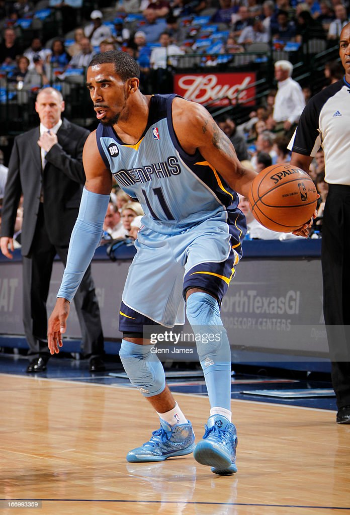Mike Conley #11 of the Memphis Grizzlies looks to drive to the basket against the Dallas Mavericks on April 15, 2013 at the American Airlines Center in Dallas, Texas.