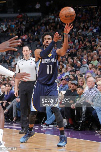 Mike Conley of the Memphis Grizzlies passes the ball during a game against the Sacramento Kings on March 27 2017 at Golden 1 Center in Sacramento...