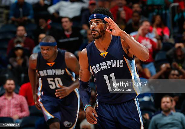 Mike Conley of the Memphis Grizzlies reacts after hitting a threepoint basket in the final minutes of their 8281 win over the Atlanta Hawks at...