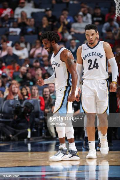 Mike Conley of the Memphis Grizzlies reacts during a preseason game against the Houston Rockets on October 11 2017 at FedExForum in Memphis Tennessee...