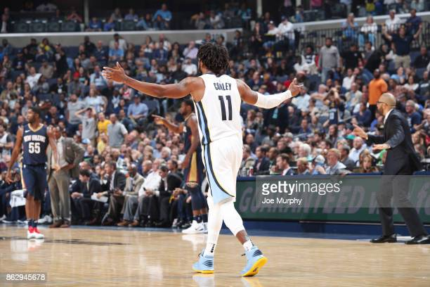 Mike Conley of the Memphis Grizzlies reacts during the 201718 regular season game against the New Orleans Pelicans on October 18 2017 at FedExForum...