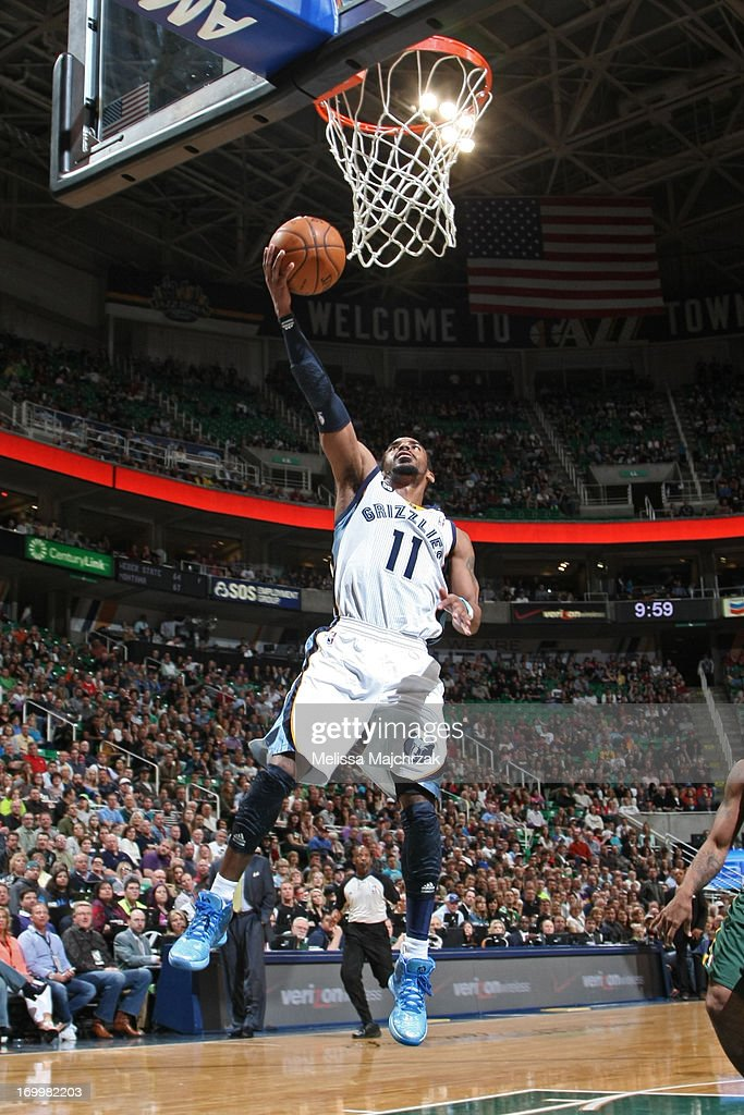 Mike Conley #11 of the Memphis Grizzlies shoots a layup against the Utah Jazz at Energy Solutions Arena on March 16, 2013 in Salt Lake City, Utah.